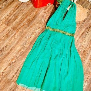 SILK GREEN HALTER DRESS